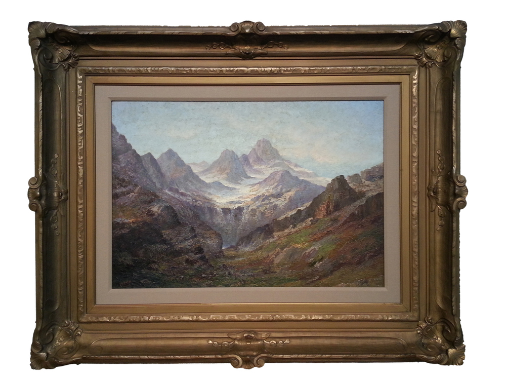 "Sawtooth Mountain Region Landscape Oil on Canvas 22 1/2"" x 32 1/2"", Signed (l.l.) ""Itter"" Antique Frame Price Available Upon Request Julian E. Itter was born in Canada and moved to America at the turn of the 20th century. Itter adopted the West Coast U.S. landscape as his own. He made his name as a painter of the Cascade Range and the Lake Chelan region in Washington State. He was an important early advocate for preserving the natural beauty of the Washington landscape and is widely considered the founding father of the North Cascades National Park. In 1906, the Butler Hotel in Seattle hosted an exhibition of his paintings. An accompanying article published in the Seattle Times hailed his ""studies on the pine trees in the woods of Washington are other of his best pictures"". Shortly thereafter, Itter traveled to France to exhibit his work. At that time, leading Parisian art critic, Victor Forbin, called Itter ""the most promising American artist"" he had known for twenty-five years. Upon his return to the Northwest in 1912, he employed his more refined and studied techniques for depicting views of the Stehelein Valley, in addition to other locales. Living in Spokane at this time, a New York art broker arrived to get the rights to the paintings of the artist. He told reporters that he had ""crossed the continent"" to make sure that he acquired ""what we believe to be the American artist"" (presumably emphasizing the word ""the""). These comments were documented in an April 1912 article about Itter, in The Spokesman Review. Itter's paintings have been held in numerous private and corporate collections including the Ronald K. Shepherd Collection, and Weyerhauser Family Collections."