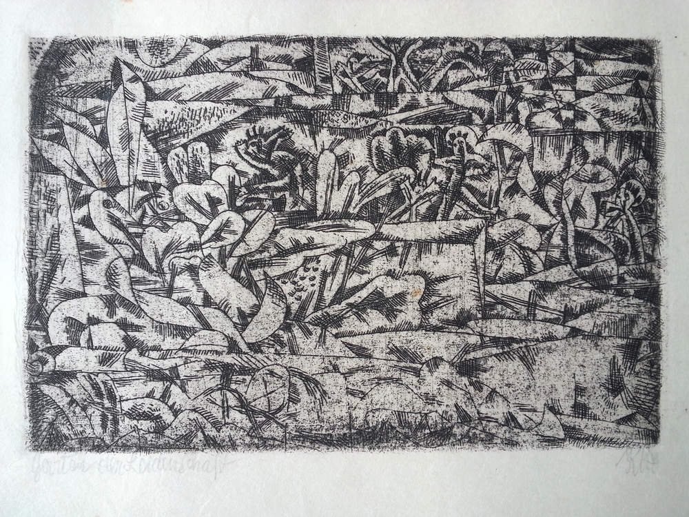 "Paul Klee ( Swiss - German, 1879 - 1940 ) ""Garten der Leidenschaft"" / ""Garden of Pleasure"" ( 1913 ) Original Hand Pulled Etching, Titled (l.l.) and Signed ""Klee"" (l.r.) Approx. Image Size 3 1/2"" x 5 1/2"" / Frame O.D. 12 7/16"" x 14 7/8""  $6,700 A Swiss-born painter and graphic artist, Paul Klee was born on December 18, 1879, in Munchenbuchsee, Switzerland, into a family of musicians. His personal, often gently humorous works are filled with allusions to dreams, music, and poetry, and are difficult to classify. Primitive art, surrealism, cubism, and children's art all seem blended into his small-scale, delicate paintings, watercolors, and drawings. Klee grew up in a musical family and was himself a violinist. His childhood love of music was always to remain important in his life and work. From 1898 to 1901, Klee studied in Munich, first with Heinrich Knirr, then at the Kunstakademie under Franz von Stuck. Upon completing his schooling, he traveled to Italy in the first of a series of trips abroad that nourished his visual sensibilities. While in Italy (1901-02), he responded enthusiastically to Early Christian and Byzantine art. He settled in Bern in 1902. Klee's early works are mostly etchings and pen-and-ink drawings. These combine satirical, grotesque, and surreal elements, and some reveal the influence of Francisco de Goya and James Ensor, both of whom Klee admired. Two of his best-known etchings, dating from 1903, are 'Virgin in a Tree' and 'Two Men Meet, Each Believing the Other to Be of Higher Rank'. Such peculiar, evocative titles are characteristic of Klee, and give his works an added dimension of meaning. After his marriage in 1906 to the pianist Lili Stumpf, Klee settled in Munich, then an important center for avant-garde art. That same year he exhibited his etchings for the first time. His friendship with the painters Wassily Kandinsky and August Macke prompted him to join Der Blaue Reiter (The Blue Rider), an expressionist group that contributed much to the development of abstract art. A turning point in Klee's career was his visit to Tunisia with Macke and Louis Molliet in 1914. He was so overwhelmed by the intense light there that he wrote: ""Color has taken possession of me; no longer do I have to chase after it, I know that it has hold of me forever. That is the significance of this blessed moment. Color and I are one. I am a painter"". In 1920, a major Klee retrospective was held at the Galerie Hans Goltz, Munich; his Schöpferische Konfession was published; he was also appointed to the faculty of the Bauhaus. Klee taught at the Bauhaus in Weimar from 1921 to 1926 and in Dessau from 1926 to 1931. During his tenure, he was in close contact with other Bauhaus masters, such as Kandinsky and Lyonel Feininger. In 1924, the Blaue Vier, consisting of Lyonel Feininger, Jawlensky, Kandinsky, and Klee, was founded. Among his notable exhibitions of this period were his first in the United States at the Société Anonyme, New York, in 1924; his first major show in Paris the following year at the Galerie Vavin-Raspail; and an exhibition at the Museum of Modern Art, New York, in 1930. Klee went to Düsseldorf to teach at the Akademie in 1931, shortly before the Nazis closed the Bauhaus. Forced by the Nazis to leave his position in Düsseldorf in 1933, Klee settled in Bern the following year. Seventeen of his works were included in the Nazi exhibition of ""degenerate art,"" Entartete Kunst, in 1937. Major Klee exhibitions took place in Bern and Basel in 1935 and in Zurich in 1940. Klee died on June 29, 1940, in Muralto-Locarno, Switzerland. Source: Website of the Guggenheim Museum, and to Grolier Multimedia Encyclopedia. Compiled by T.Collins."