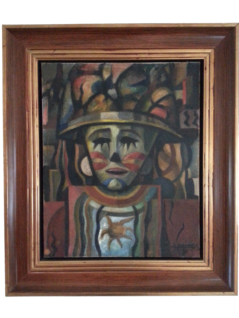 "Cabeza de Danzante  ( 1957 )   Oil on Canvas, Signed ( l.r. ) ""D. Paredes 57""  20"" x 17"" / 26 1/2"" x 23 1/2"" Framed    Price Available Upon Request    Artist Biography: Diógenes Paredes Castillo was born on May 5th / 1910 in Tulcán city, located in the province of Carchi, Ecuador.  When he was 19 years old he started to become really interested in painting and decided to study at the ""Bellas Artes"" School in Quito, where he later became a teacher and director. His left ideology led him to have communist tendencies and also to be atheist.  In 1938 Paredes founded the ""Sindicato de Escritores y Artistas del Ecuador"" (Labor Union of Writers and Artists of Ecuador) with Jorge Icaza, Benjamín Carrión, Eduardo Kingman, Demetrio Aguilera, and some others. Kingman called this labor union like ""an identification with the worker community, because we are considered just like workers situated in the field of culture"".  One of the most important activities organized by the Union Labor was, ""Los Salones de Mayo"" (the May Salons), where many paintings of urban landscapes as well as social or indigenous themes were exhibited. Paredes also exhibited two of his famous paintings: ""El Cargador y Los Pondos"" (the shipper and the water carriers) which represented the life of the indigenous people in the country side. One of the typical pattern strongly handled was the one that leagued the man with the ground, that according to the critique both of them formed an inseparable unity.  In 1944 The Union Labor of Writers and Artists of Ecuador did not work anymore and the Ecuadorian House of Culture was created. The first art impulsion given by this one was the creation of ""Los Salones Nacionales de Artes Plásticas"" (National Salons of Plastic Art). After few years Paredes won the First Prize in the ""First Salon of Plastic Art), and for this reason the House of Culture told him and José Enrique Guerrero to take charge of the painting of the walls located in the lobby of the new building of the Institution in ""La Plaza de Mayo"".  In 1946 he traveled to France, awarded with a scholarship granted by the French government where he studied at the ""Bellas Artes"" School in Paris. Some years later he was invited by governments of those countries and visited the Republics in the East Europe, the Soviet Union and the Communist China.  Paredes, as member of the Communist Party had was always worried about claiming the social injustice and the exploitation of the indigenous through his paintings. During the period where the ""Cold war"" imposed anti-communist tendencies in all Latin America, Paredes preferred to leave his job than his ideas. Since then he was only devoted to the painting.  The approchement of Paredes to the indigenous people was reached by following the contemporary line of Alfred Schutz. The indigenous tendency of Diógenes Paredes is the construction of the situation of the indigenous people. This one is taken from the glance or look of the urban ""mestizo"" of medium level which enroll a stigma in the body of the dominated indigenous, seen not as a whole human being but as an insignificant and undervalued person.  The work of Paredes about the identity of the indigenous people is mainly focused in the deformity of their bodies. The marks that are used to create his pictorial universe are: faces with boned cheek bones, deformity of the extremities, bitter appearance, lost glance, fierced eyes, frowned frown and enlargement of hands and feet, usually covered with rags and submerged until their knees with mud. In his work the ochre and gray colors are used a lot as well as binding. Paredes tried to represent the indigenous people like helpless and miserable human beings who suffer the exploitation and the abandon of the national society. They are also considered like people that exhibit their marks of contempt in order to reach the recognition of the society, showing themselves as fair people that tend to the equality and social improvement.  In the beginning this deformation was not only seen like a expressionist value but also like an interchange with the reality of the indigenous.  Through his paintings Paredes has been able to give a visual form to the social, scientific and political speech around the indigenous people.  Since 1950 that tendency changed due to a bigger approval for a kind of art that does not claim about the exploitation and the abuse, a kind of art that neither stigmatizes nor deforms the body of the indigenous race. For this reason Paredes will focus later his work on the man of the coast side and his natural environment. He will also dedicate part of his production to portraits and landscapes but he will not give up to the indigenous theme.  When Paredes died in 1968, he left a limited production of his work because many of his paintings have disappeared or it is not known where they are. He was always a very generous man, so he used to give his paintings as presents without registering them.  AWARDS:  1942 Second Prize of Painting, ""Salón Mariano Aguilera."" in Quito - Ecuador. 1945 First Prize in the ""Salón Nacional de Artes Plásticas"" organized by the House of Culture in Quito - Ecuador. 1947 First Prize of Painting, ""Salón Mariano Aguilera"" in Quito – Ecuador. 1948 First Prize ""IV Salón de Mayo"" in Quito - Ecuador. 1964 Gold Medal, ""Atelier de Arte"" in Quito – Ecuador.  INDIVIDUAL EXHIBITS:  1949 Ecuadorian House of Culture in Quito - Ecuador. 1955 Individual Exhibit in Cuenca - Ecuador.  COLLECTIVE EXHIBITS:  1946 Collective about Ecuadorian Art in the Unesco Salons in París - Francia. 1953 National Salon of Plastic Arts in Quito - Ecuador. Collective Sample presented in Montevideo - Uruguay. 1954 Collective ""Modern and Colonial Art"" in Buenos Aires – Argentina. 1958 Exhibit of Ecuadorian Art – Art Museum in Lima – Perú. 1967 Collective ""Plastic Testimony of Ecuador"" in Quito – Ecuador."