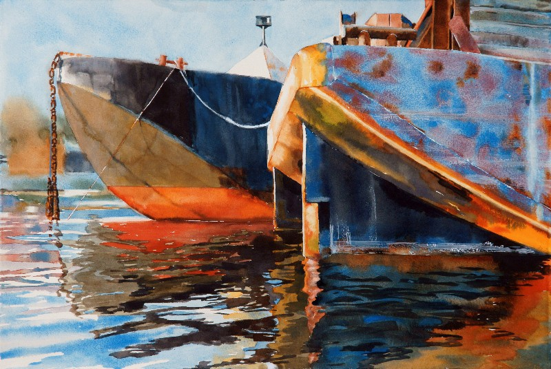 "Sunrise Barges Watercolor on Paper ( Acrylic Trap Frame ) 15"" x 22"" $600"