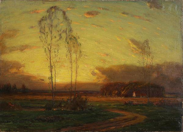 "George Inness (American, 1825-1894)      Sunset      ( 1882 )     Oil on Canvas  , Signed (l.l.) ""G. Inness 1882""     15 3/4"" x 21 3/4""       SOLD     George Inness, one of the most prominent figures in American art of the 19th century, is best-known today for his poetic and highly expressive approach to landscape painting. He was born in Newburgh, New York, in 1825, the son of a local grocer. While still a youth, he decided to pursue a career as an artist. He initiated his studies during the 1840s, working briefly under John Jesse Barker in Newark, New Jersey. At some point between 1843 and 1845 he was taught by the French-born landscapist, Regis Gignoux, in New York City. During this period, he also spent two years as an apprentice engraver with the New York firm of Sherman and Smith.  George Inness began exhibiting his pictures at the National Academy of Design in 1844. His early work, in its emphasis on detail and topographical accuracy, reveals the influence of the prevailing Hudson River School aesthetic as exemplified by such painters as Asher B. Durand. However after making trips to Italy (1851-52) and France (1853-54), he became deeply influenced by the serene, broadly-painted landscapes of Rousseau, Troyen, Daubigny and other members of the French Barbizon School.  In 1860, for reasons of health as well as discouragement with what he felt to be a lack of recognition from local critics and patrons, Inness moved with his family to Medfield, Massachusetts. He remained there for four years and then settled at Eagleswood, an estate near Perth Amboy, New Jersey. It was around this time that he met the painter William Page, who introduced him to the spiritual teachings of the Swedish philosopher Emanuel Swedenborg. Throughout the 1860s, George Inness gradually began to abandon many of the precepts associated with the Hudson River style, turning instead to a greater emphasis on mood and poetic effect through the use of rich color and fluid brushwork. One of his major points of divergence involved his vision or concept of the American landscape itself; while the Hudson River painters focused on the untamed wilderness, Inness was drawn to what he once described as the ""civilized landscape,"" where nature was shaped to suit the needs of mankind, a combination of both the real and the ideal.  In 1870, George Inness made another trip to Europe, spending most of his time in Rome. Returning to the United States four years later, he spent a year in Boston before moving back to New York in 1875. In 1878, he bought a home and studio in Montclair, New Jersey, where he would live for the rest of his life. During that same year, he helped to found the Society of American Artists, a group of younger, European influenced artists dissatisfied with the conservative, insular attitude prevailing at the National Academy. In 1882, Inness's work was the subject of a major article by the New York critic Charles De Kay in  Century Magazine . Two years later, a comprehensive exhibition of his pictures at the American Art Galleries helped further to strengthen his growing reputation.  Throughout the 1870s and 1880s, George Inness's art moved towards a greater level of individual expression. He continued to explore various aspects of both style and theory, always turning to color for its emotive potential. He also began to incorporate one, sometimes, two figures into his compositions, evident in such works as The Monk (Addison Gallery of American Art) of 1873.  Inness produced his most original and his most visionary work during the last decade of his life. In paintings such as  Sunrise  (Metropolitan Museum of Art), he explored mood and feeling through color, diffused light and a limited number of softly defined forms. Many of his pictures from this period are depictions of forest interiors at dawn or twilight. Although the hazy atmospheric qualities and ethereal nature of Inness's late work has led to comparisons with Impressionism (a movement which did inform his work to some extent), his concept of nature--spiritual, subjective (and thus very modern) -- took him well beyond Impressionism's material and scientific concerns. Indeed, in his emphasis on emotion, his free handling of pigment and in his quiet, harmonious compositions, he was tremendously influential for a younger generation of painters, such as Henry Ward Ranger and Dwight Tryon, whose related aesthetic concerns have since been defined as Tonalism.  During his later years, George Inness painted in New York, New Jersey and Connecticut as well as in California and Florida. He traveled to Europe in 1894, visiting Paris, Munich, and Baden. He died in Bridge-of-Allan in Scotland that same year. A prolific artist, Inness is represented in America's most important collections, including the National Gallery of Art in Washington, D.C., the Museum of Fine Arts in Boston, and at the Art Institute of Chicago.        MUSEUMS: 108 ( partial List )    Montclair Art Museum    Addison Gallery of American Art    Arizona State University Art Museum    Art Center in Hargate Street    Art Institute of Chicago    Bowers Museum    Buffalo Bill Center of the West    Butler Institute of American Art    Carnegie Museums of Pittsburgh/Carnegie Institute    Charles Allis Art Museum    Charles Hosmer Morse Museum of American Art    Chrysler Museum of Art    Cincinnati Art Museum    Colorado Springs Fine Arts Center    Dallas Museum of Art    Davis Museum    De Young Museum    Delaware Art Museum    Denver Art Museum    El Paso Museum of Art    Everson Museum Of Art    Figge Art Museum/Davenport Art Museum    Florence Museum    Fogg Art Museum: Harvard University Art Museums    Frederick R Weisman Art Museum    George Walter Vincent Smith Museum    Gilcrease Museum    Heckscher Museum of Art    Herbert F Johnson Museum of Art    High Museum of Art    Honolulu Museum of Art    Indianapolis Museum of Art    Lauren Rogers Museum of Art    Locust Grove, The Samuel Morse Historic Site    Los Angeles County Museum of Art    Lowe Art Museum    Maier Museum of Art    Mead Art Museum    Memorial Art Gallery    Memphis Brooks Museum of Art    Metropolitan Museum of Art    Minneapolis Institute of Arts    Mount Holyoke College Art Museum    Munson-Williams-Proctor Arts Institute    Museum of Fine Arts, Boston    Museum of Fine Arts, Houston    Museum of Fine Arts-St. Petersburg    National Academy of Design Museum    National Gallery of Art, Washington DC    New Jersey State Museum    New Orleans Museum of Art    New-York Historical Society    North Carolina Museum of Art    Oakland Museum of California    Oklahoma City Museum of Art    Orlando Museum of Art    Paine Art Center    Pennsylvania Academy of the Fine Arts    Phoenix Art Museum    Portland Art Museum, Oregon    Print Club of Albany    R W Norton Art Gallery    Reading Public Museum    Reynolda House-Museum of American Art    Rhode Island School of Design-Museum of Art    Ruth Chandler Williamson Gallery, Scripps College    Saint Louis Art Museum    San Diego Museum of Art    Santa Barbara Museum of Art    Sewell C Biggs Museum of American Art    Sheldon Museum of Art    Smith College Museum of Art    Springfield Museum of Art    Stark Museum of Art    Swope Art Museum    The Arkell Museum at Canajoharie    The Brooklyn Museum of Art    The Cleveland Museum of Art    The Columbus Museum of Art, Georgia    The Columbus Museum of Art, Ohio    The Cummer Museum Of Art & Gardens    The Haggin Museum    The Hudson River Museum    The Huntington Library & Gallery    The Museum Of Arts And Sciences    The Nelson-Atkins Museum of Art    The Newark Museum    The Philbrook Museum of Art    The Phillips Collection    The Speed Art Museum    The Sterling and Francine Clark Art Institute    The Toledo Museum of Art    The University of Arizona Museum of Art    The University of Michigan Museum of Art    The White House Permanent Collection    Thyssen-Bonemisza Collection    Timken Museum of Art    Union League Club of Chicago    University of Wyoming Art Museum    USC Fisher Gallery    Wadsworth Atheneum Museum of Art    Walters Art Museum    Washington County Museum of Fine Arts    Whitney Museum of American Art    Williams College Museum of Art    Yale University Art Gallery    Zigler Museum"