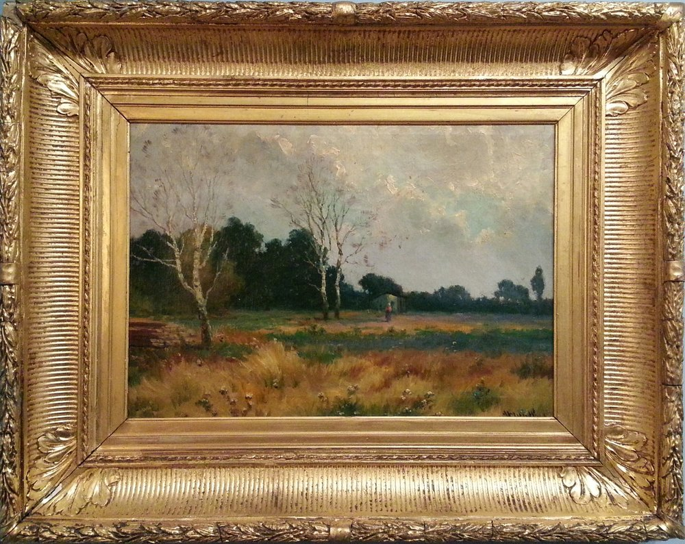 "American School ( 19th c. )   Oil on Canvas, Signed (l.r.) by Untraceable Artist  22"" (H) x 27 1/2"" (W) Frame O.D. ( Period Frame )   SOLD"