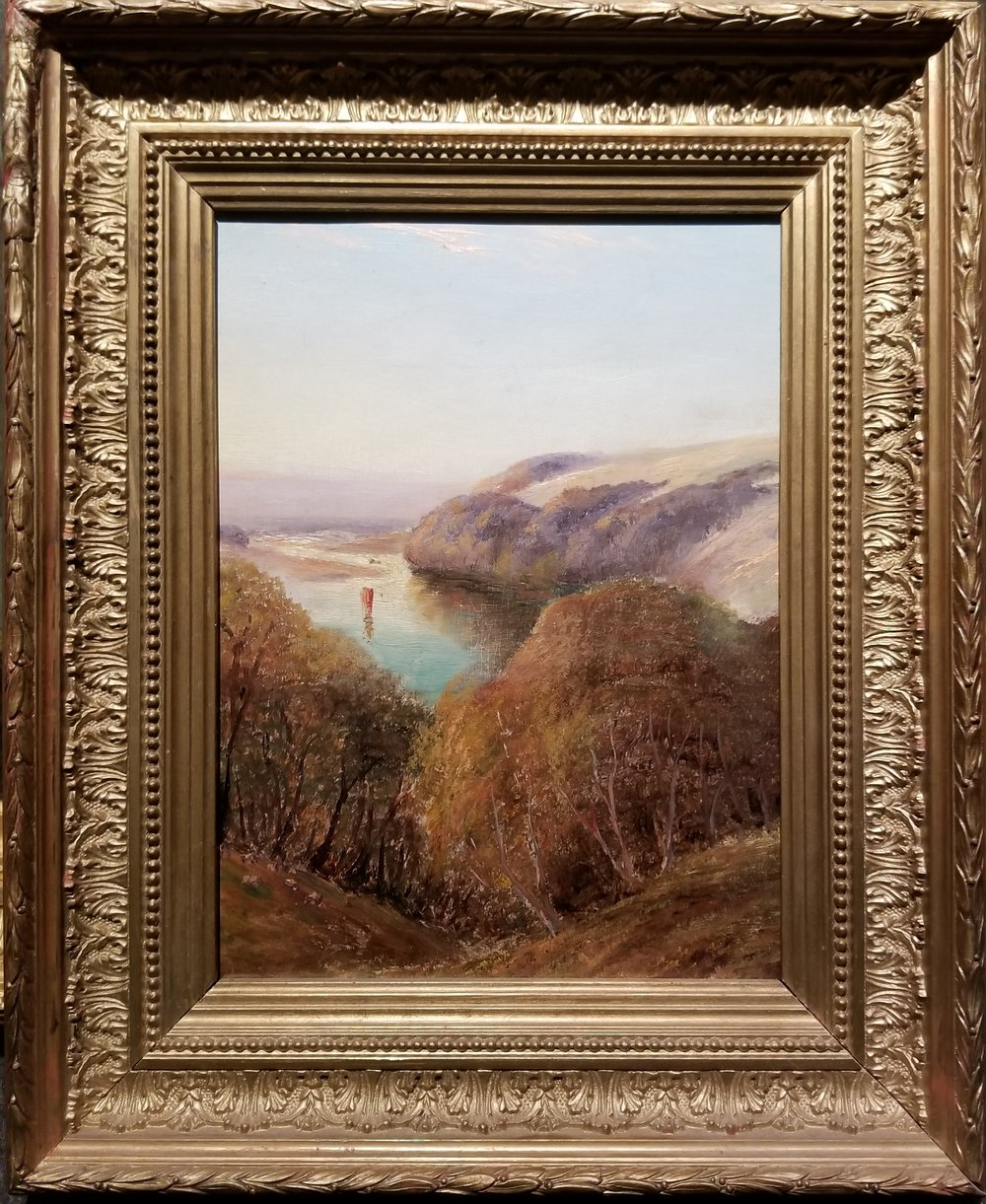 "Antique Hudson River School Painting, Unsigned / Antique Frame  9 3/4"" x 7 1/2"" / 13 3/4"" x 11 1/2"" Overall  $1,500"