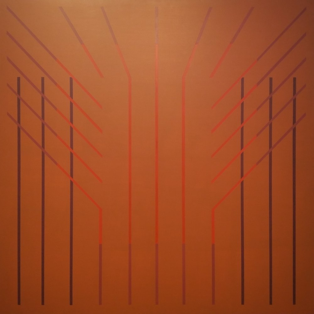 "Richard F. Dahn (American, b. 1932)     Ray Band Series #1  (1999)    Acrylic on Panel    36"" x 36""    $5,500"