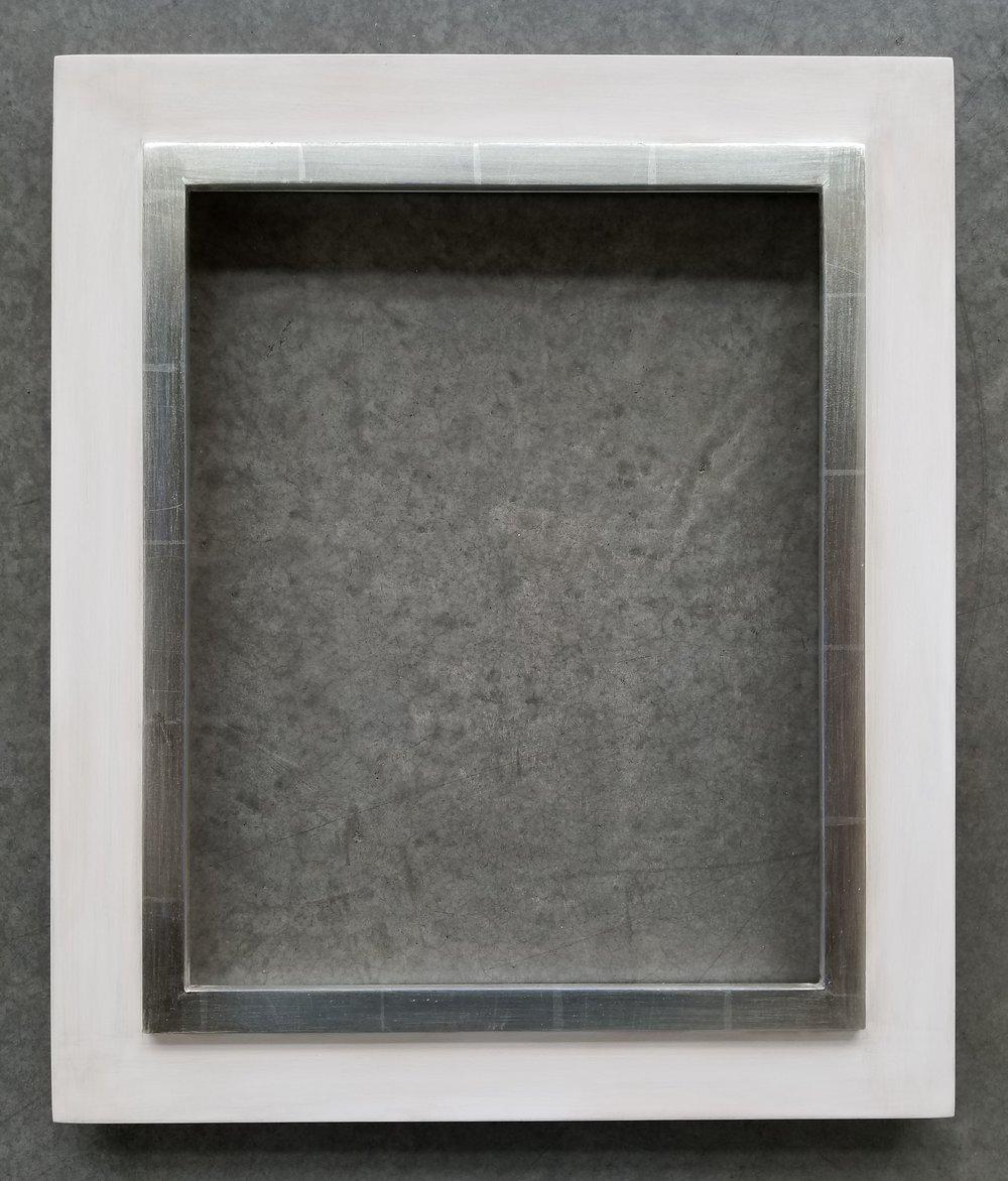 """C&J Frame with Antique White Dark Panel and 12k water gilded raised inner lip / 15 1/4"""" x 12 1/4"""" I.D.  / 19 3/4"""" x 16 3/4"""" O.D.  Regular $800 / SALE $640"""