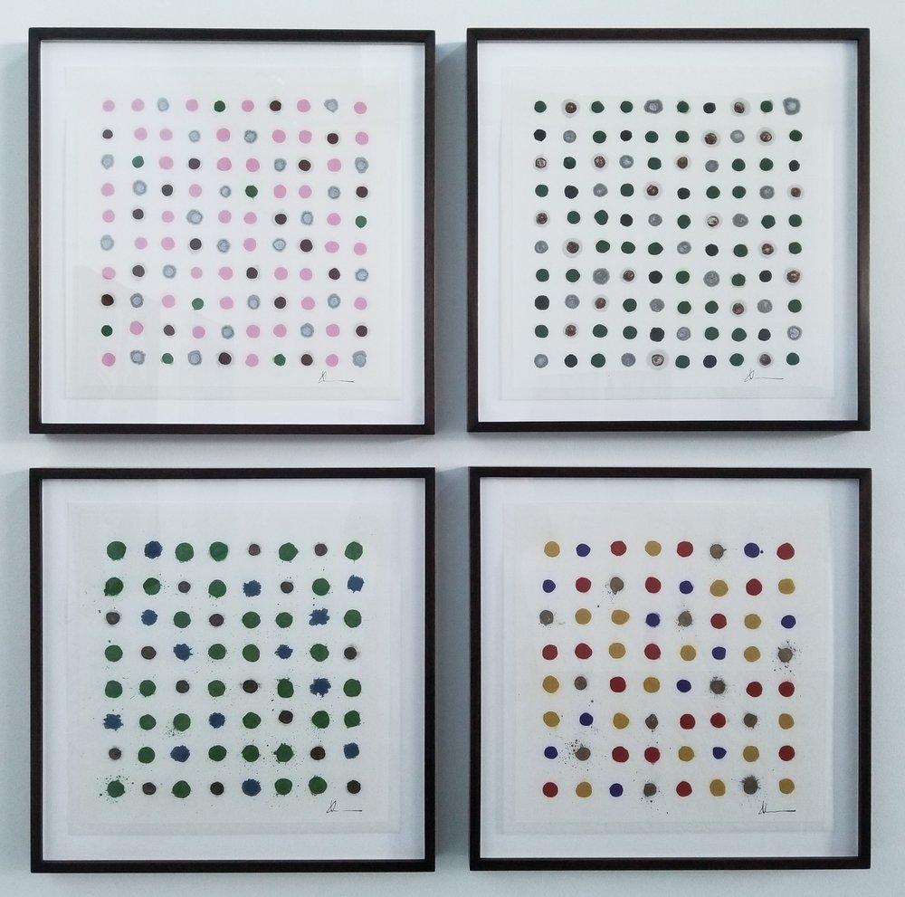 "Louise Kikuchi (American / HI / WA)     The Four Seasons  (2017)    Sumi and Gansai on Paper, Framed    18"" x 18"" each (Framed)    $7,500"