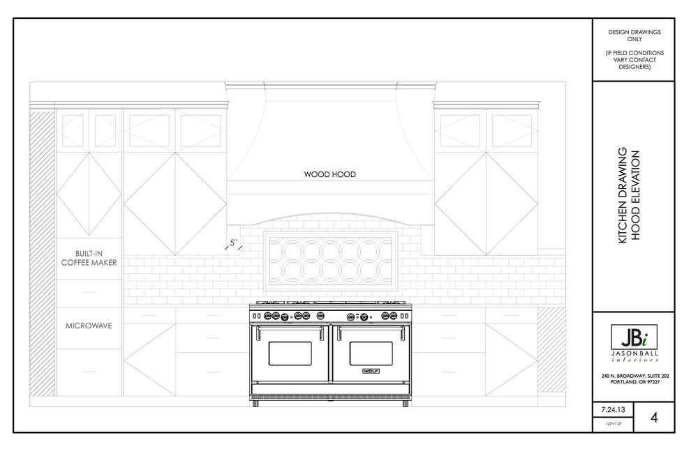 Elevation drawing of range wall