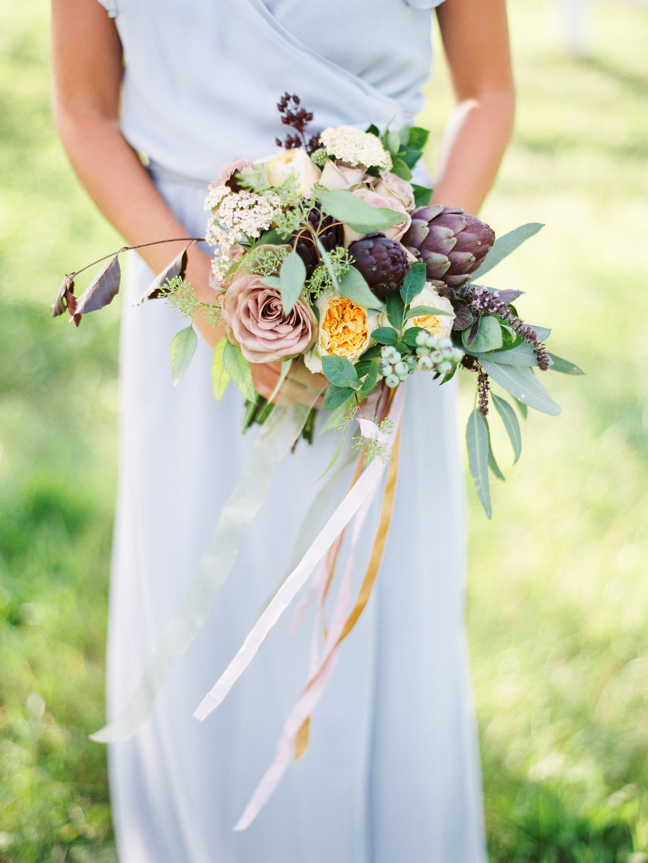 blue-bridesmaid-dress-tea-stained-bouquet-ribbon
