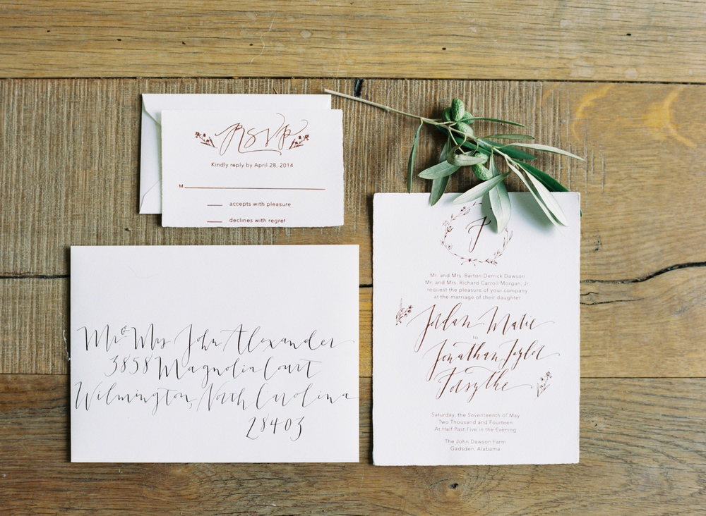 abany bauer wedding paper suite calligraphy