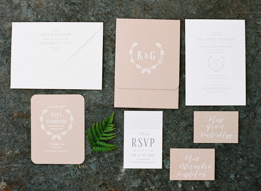 kraft and white wedding invitation