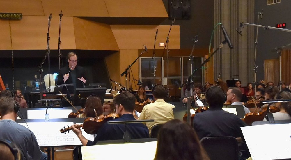 Aaron conducting his score with the Hollywood Symphony Orchestra at 20th Century Fox Newman Scoring Stage, Los Angeles (2016)