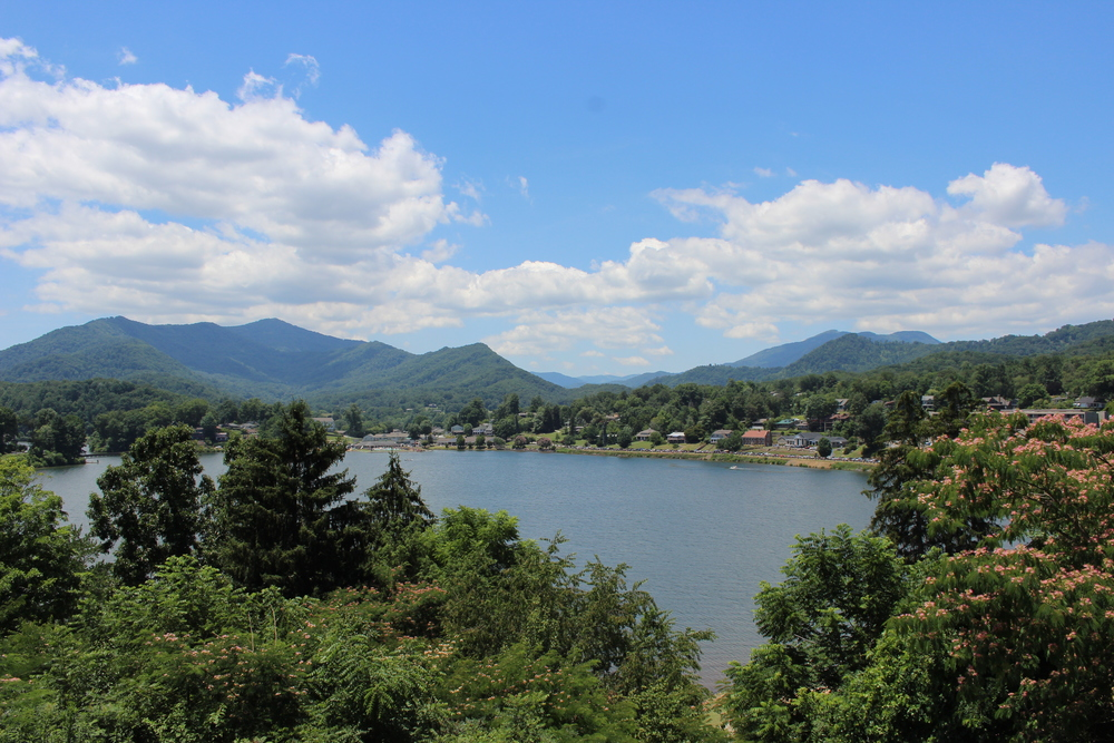 View of Lake Junaluska from below the Lambuth Inn, July 2014.