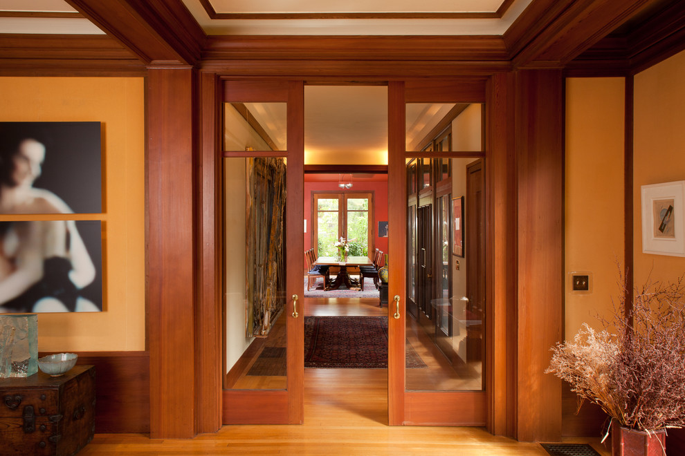 French-door-handles-hall-craftsman-with-wood-floor-wood-ceiling-trim.jpg