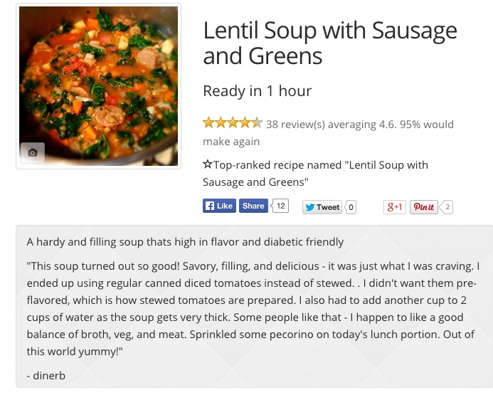 Lentil Soup with Sausage and Greens  - This is good with andouille sausage. To cut the heat and add some creaminess, add yogurt to the soup when you serve it.