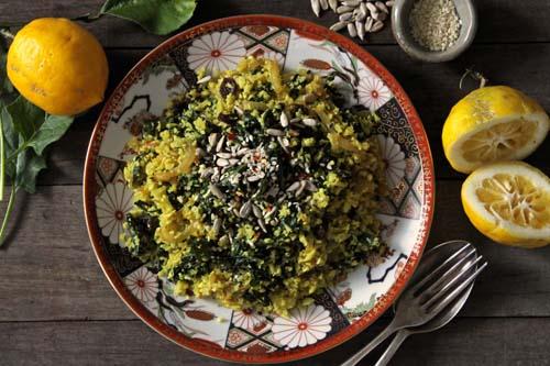 Spiced cauliflower rice w/ garlic greens & soft fried onions