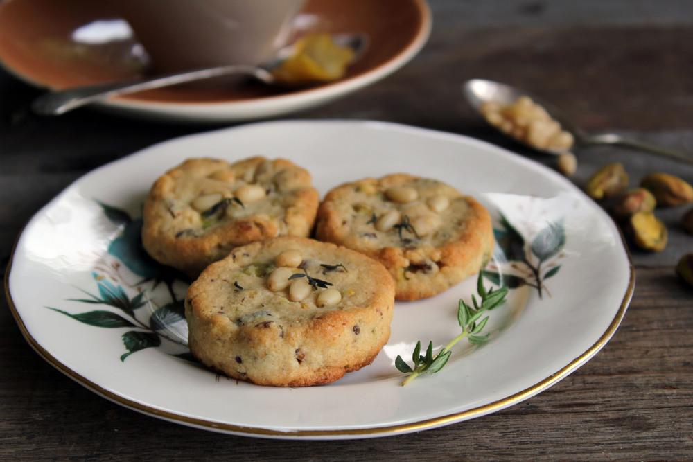 Pine nut, pistachio & date butter cookies w/ lemon & thyme (GF)
