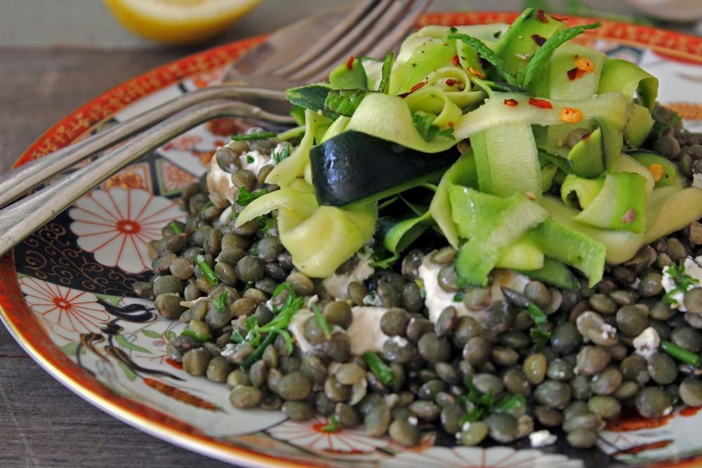 Zucchini carpaccio w/ feta & green herb puy lentils