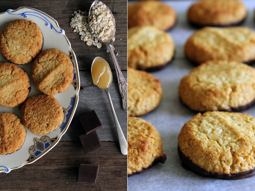 Honey, oat & coconut cookies - dipped in dark chocolate