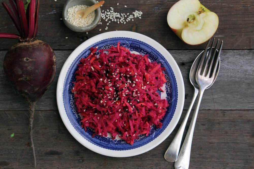 Beetroot, apple & carrot salad w/ rich tahini dressing