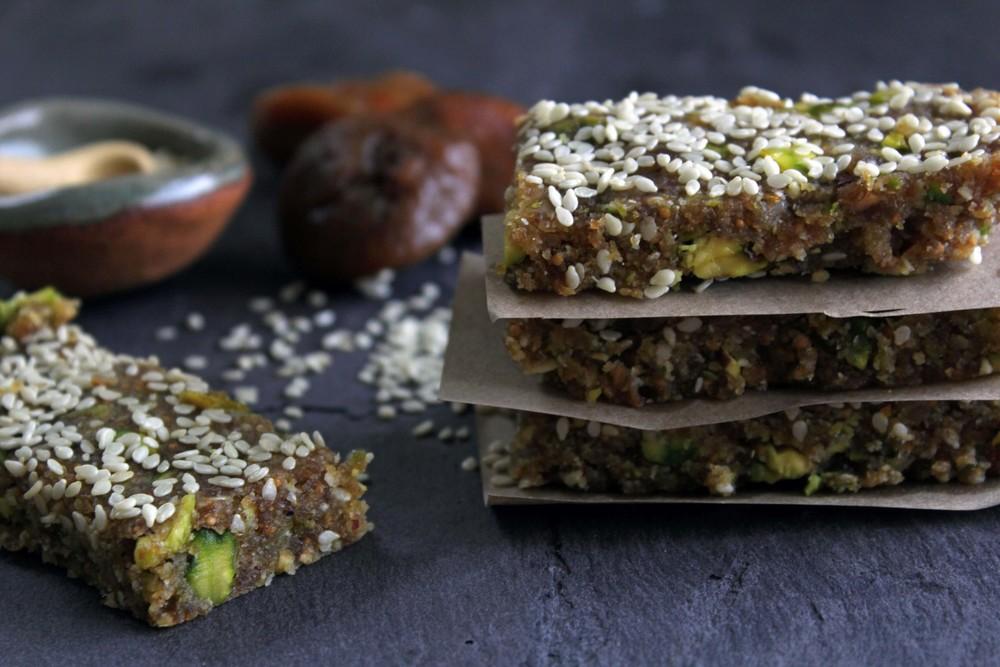 Raw fig bars w/ tahini, pistachios & orange zest
