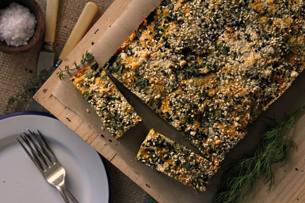Veggie slice with crunchy almond & back sesame crumb