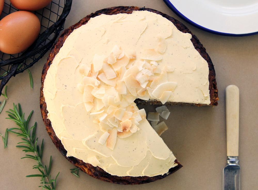 Gluten free carrot cake w/ hazelnuts, rosemary & lemon