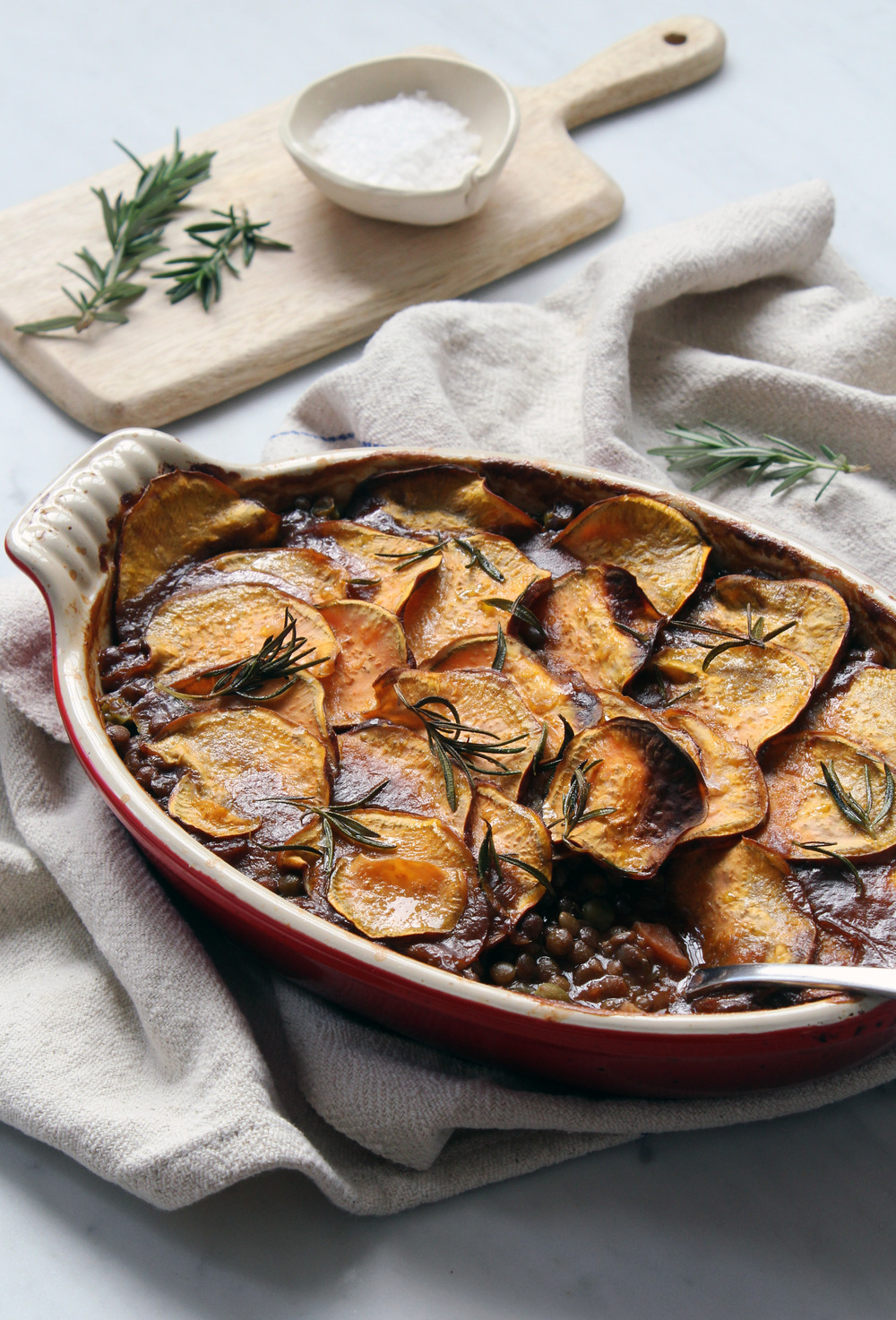Rich lentil & mushroom pie w/ crispy sweet potato — bonnie delicious