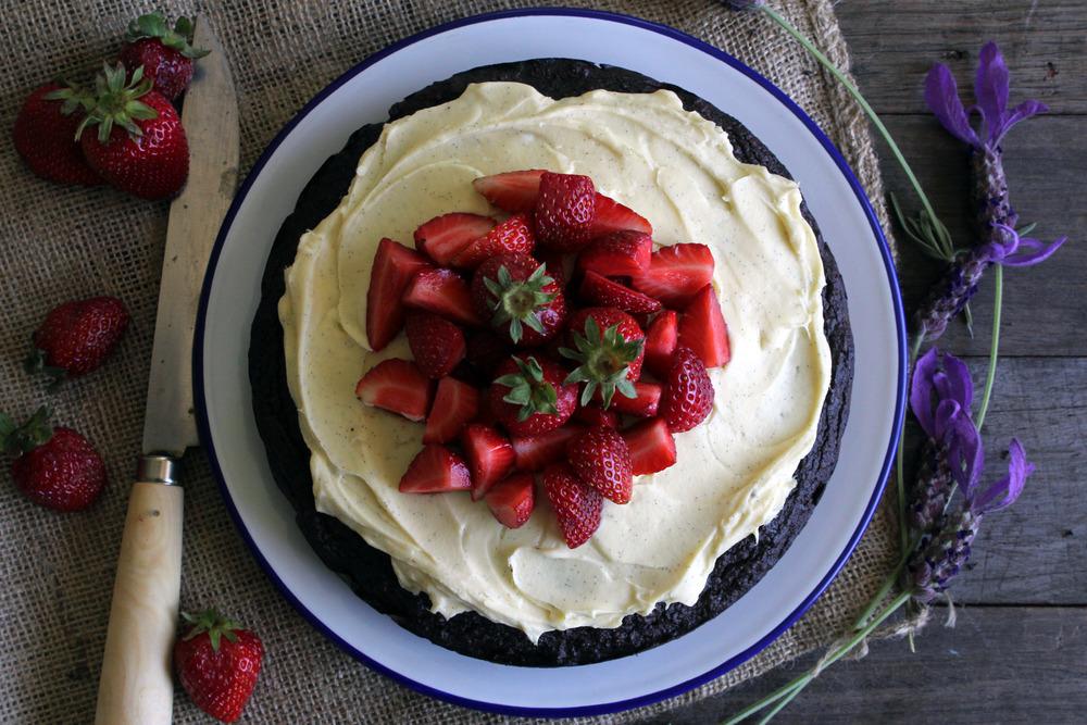 Gluten free dark chocolate & ginger cake