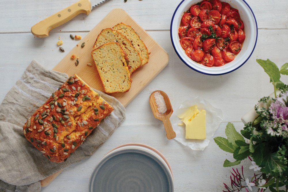 Paleo brunch loaf w/ sweet potato, zucchini & rosemary