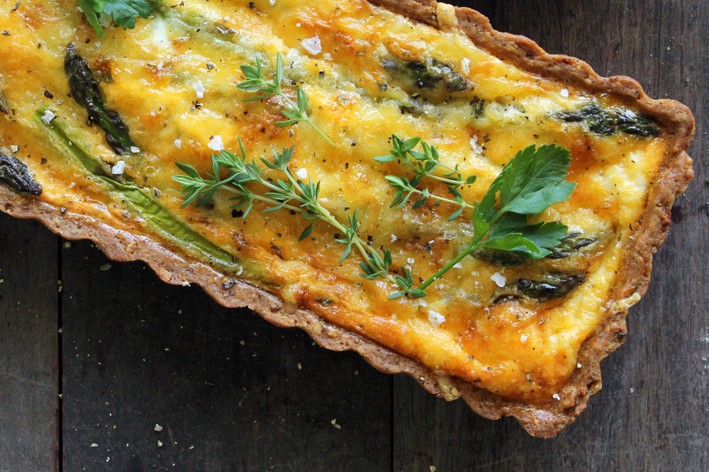 Asparagus & herb tart w/ a buckwheat & walnut crust