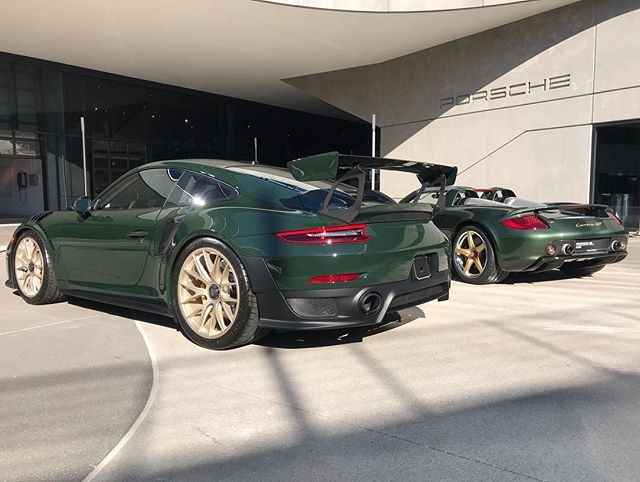 Congrats to @select32 on the new addition to his collection! Brewster Green GT2RS paired nicely with his Oak Green Metallic CGT. It was a pleasure being there for this special event. More pictures coming soon. #freedperformance #porsche #thereisnosubstitute #alliseeisgreen #oakgreenmetallic #brewstergreen #gt #gt2rs #gt2rsweissach #carreragt #pts @ptsrs