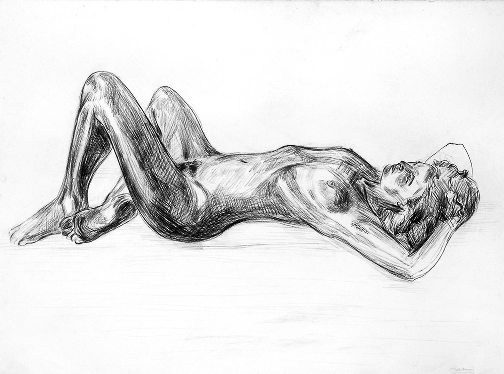 Reclining Nude  1983  Charcoal  56x76cms