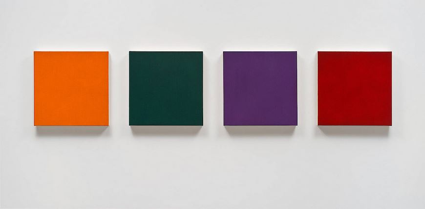Group 8: Indian Yellow-Orange Lake, Viridian, Cobalt Violet, Ruby Lake  2013 , Oil on canvas. 18 x 18 in. (45.7 x 45.7 cm) each. Photo by Brian Forrest.