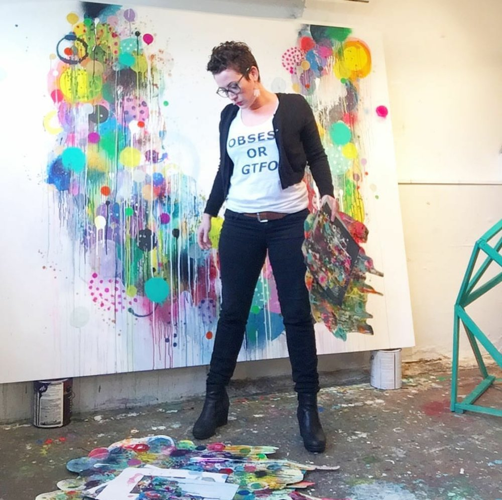 ...my dear friend and amazing painter,  Liz Tran , at work in her studio