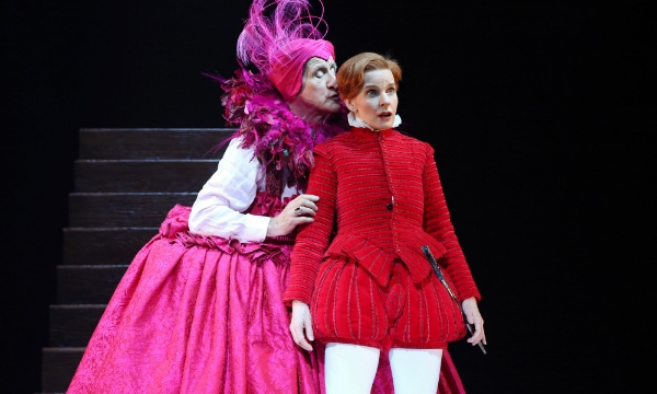 Jacqueline McKenzie (Orlando) and John Gaden (Elizabeth I) in Orlando; Photo by Prudence Upton.