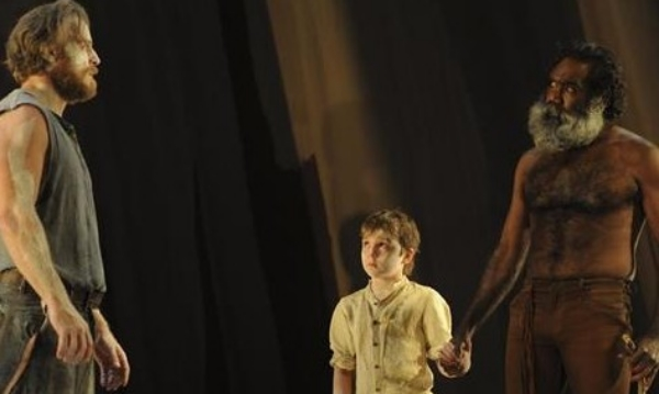 Nathaniel Dean, Toby Challenor and Trevor Jamieson in Sydney Theatre Company's The Secret River; Photo by Heidrun Löhr.