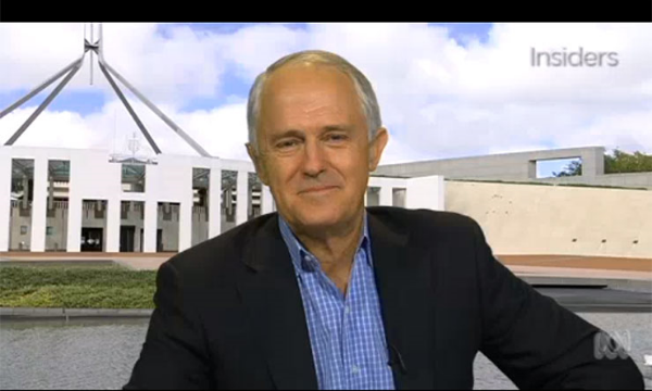 Malcom Turnbull, pictured on Insiders over the weekend.