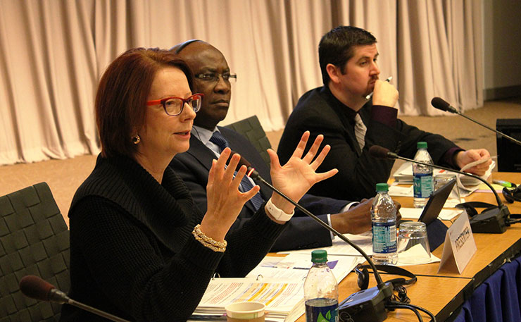 Julia Gillard, pictured at the retreat of the Board of Directors of the Global Partnership for Education. Washington, DC. October 2015 (Image: GPE/Chantal Rigaud, Flickr).
