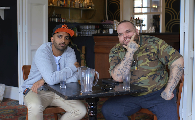 Aamer Rahman with rapper Briggs. Image: Vice Media