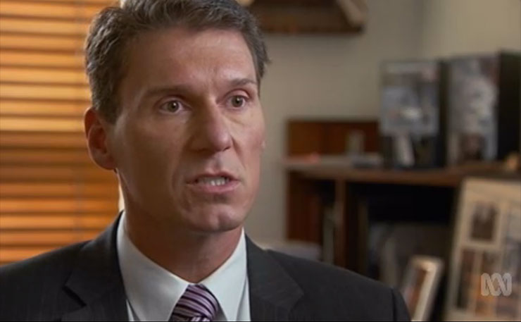 Cory Bernadi, pictured in a screencap from an ABC 4 Corners report into Halal certification.