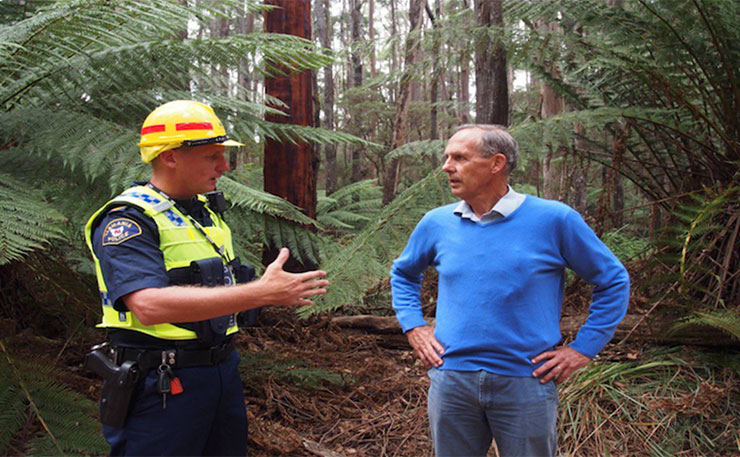 Bob Brown, about to be arrested while protesting Tasmania's iconic natural heritage.