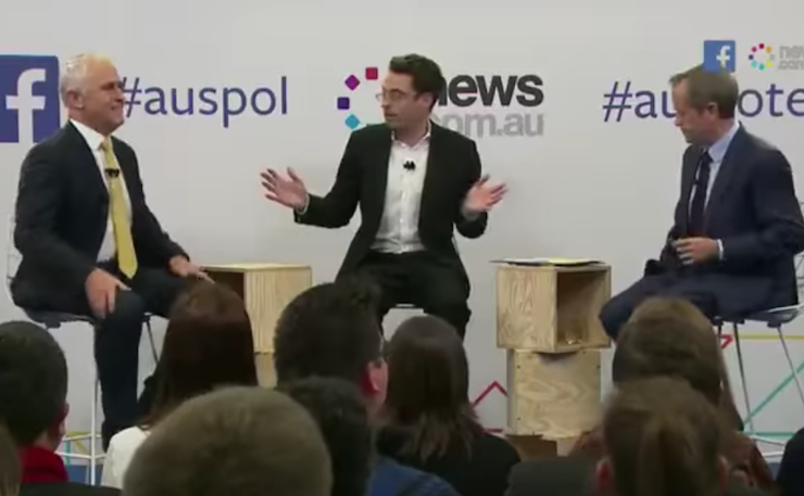 Joe Hildebrand hosts a debate between Turnbull and Shorten.
