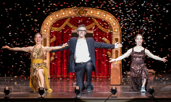 Image: Monica Bill Barnes, Ira Glass, and Anna Bass in Three Acts, Two Dancers, One Radio Host. Photo by David Bazemore.