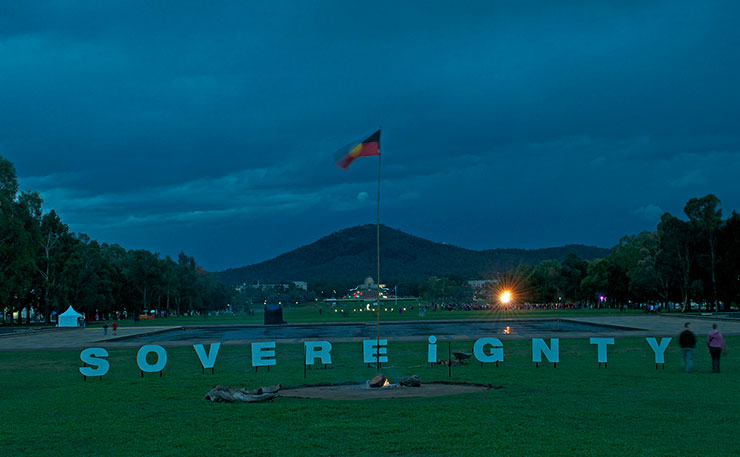 The grounds of the Aboriginal Tent Embassy in Canberra.(Image:Cazz, Flickr).