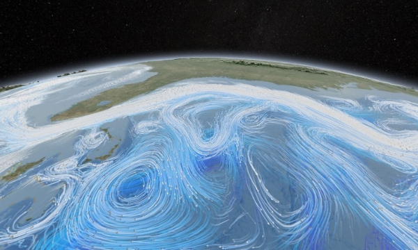 A  NASA image showing the effect of weather on ocean currents. (Image: NASA Goddard Space Flight Centre, Flickr)
