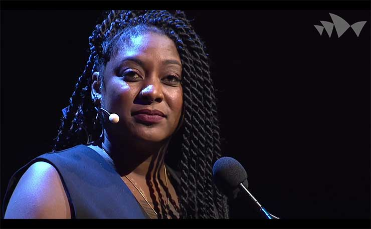 One of the founders of the Black Lives Matter movement in the US, Alicia Garza, speaking at the Festival of Dangerous Ideas in Sydney earlier this year.