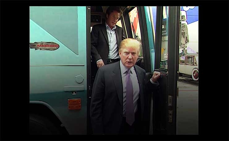 Donald Trump emerges from a bus in 2005, in the clip that seriously damaged his run at the 2016 presidency.