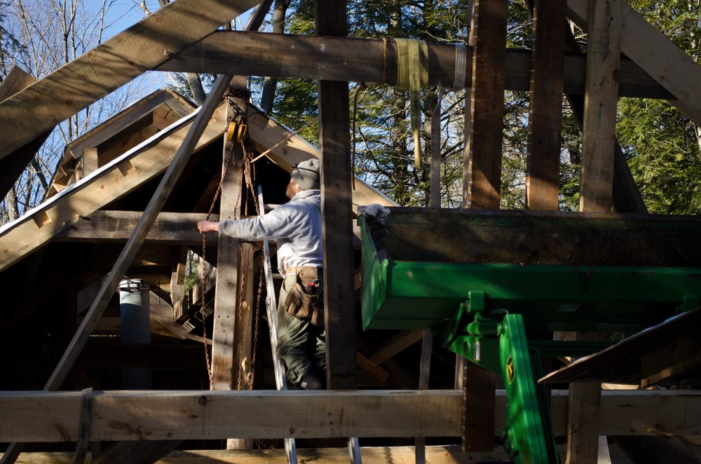 Timber Framing, Timber Frame Bent, Bolton Landing, John Deere, Bixby's Best, Maple Syrup, Sugar Shack
