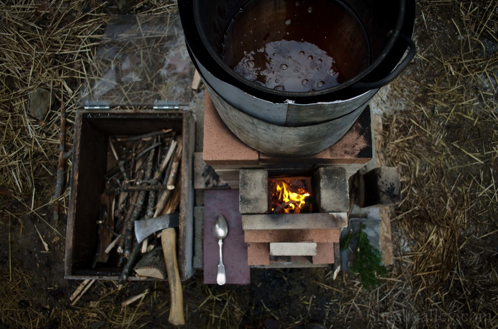 Maple Syrup Rocket Stove