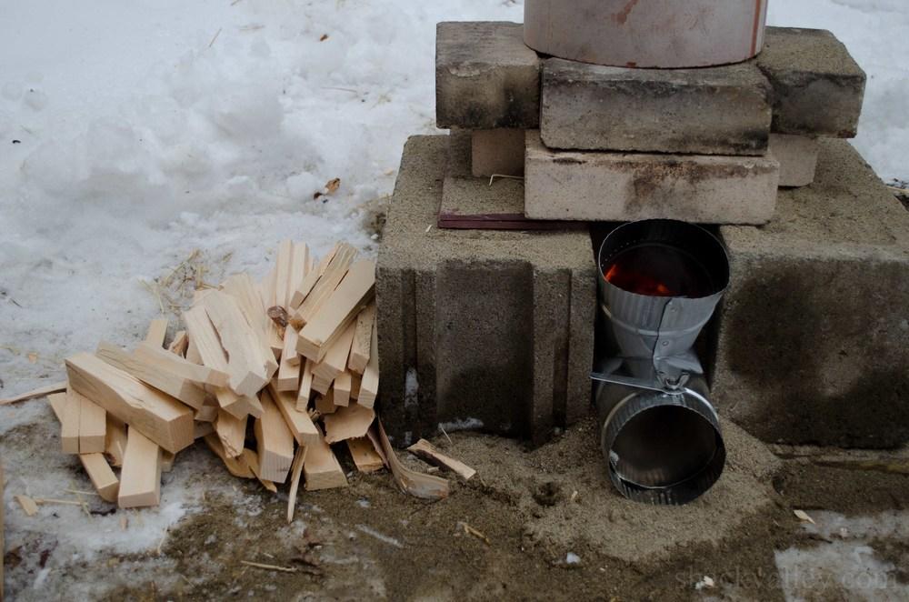 Rocket stove 1 for 4 block rocket stove